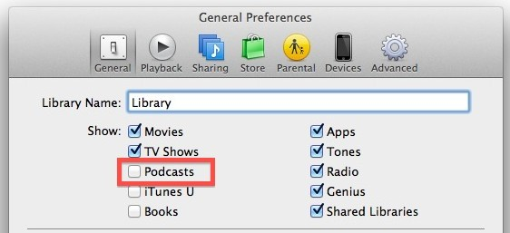 Zeige Podcasts in iTunes 11