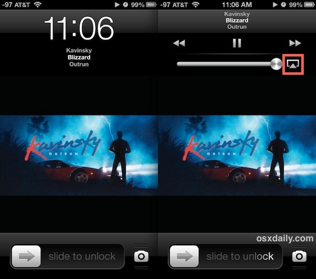 Lock Screen AirPlay-Bedienelemente auf dem iPhone