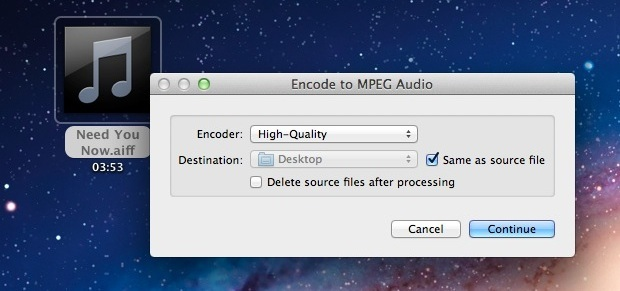Konvertiere Audio in M4A in Mac OS X