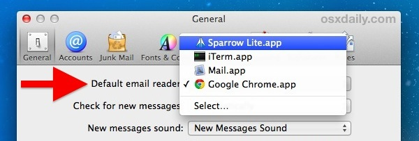 Andere Standard-Mail-Client-Optionen in Mac OS X