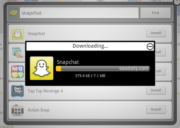 Installiere Snapchat in Bluestacks auf dem Mac