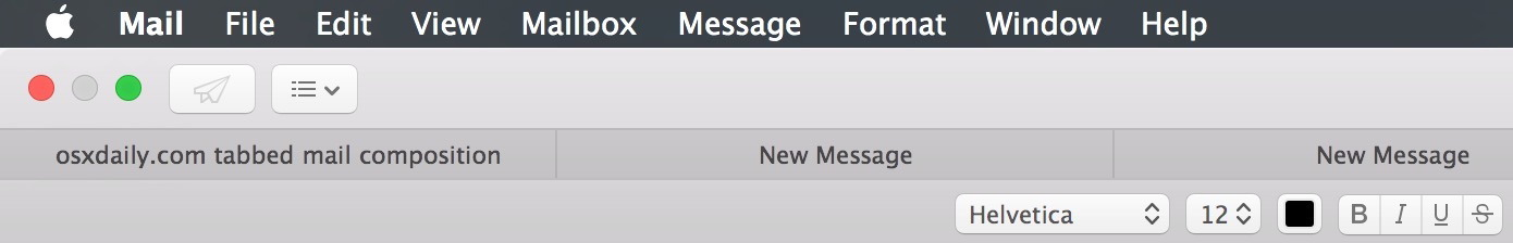 Tabbed E-Mails in Mail App für Mac OS X