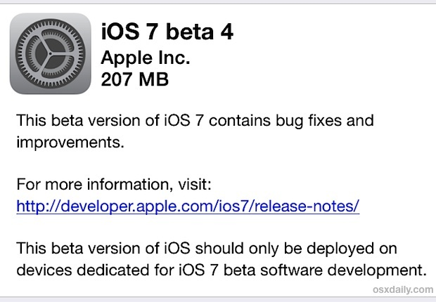 iOS 7 Beta 4 Download über OTA
