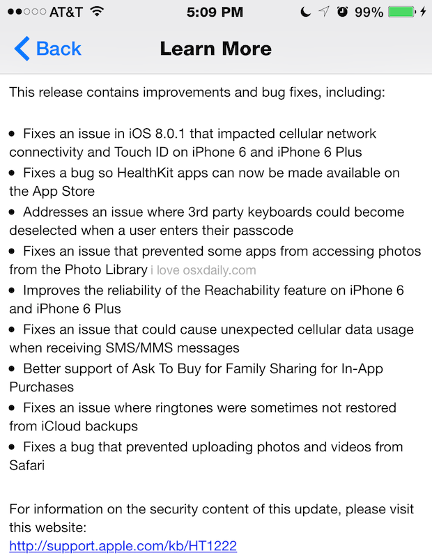 iOS 8.0.2 Versionshinweise
