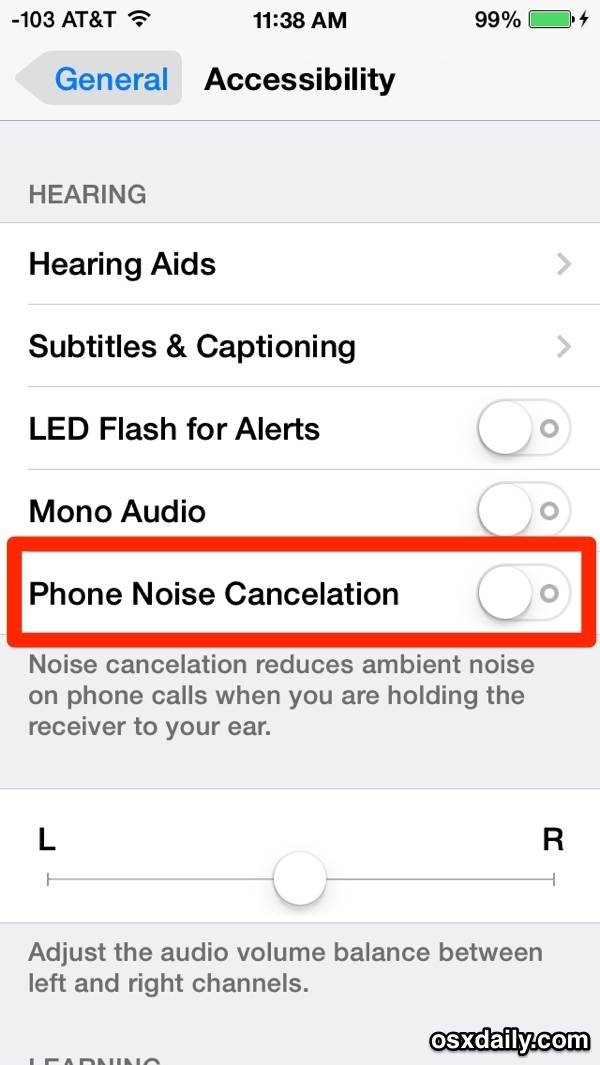 iPhone Phone Noise Cancelation-Funktion in iOS