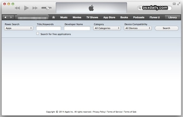 Power Search Apps mit iTunes